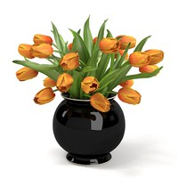 ORANGE Tulips Bouquet In The Vase ELEGANT ACCESSORY HOME DECOR ENERANCE